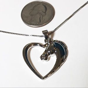 Heart Horse Pendant with Necklace Silver Tone